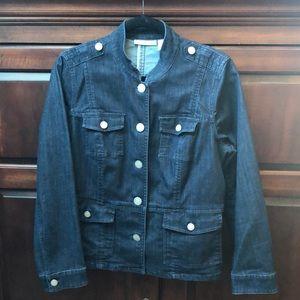 Chico's platinum women's dark denim jean  jacket